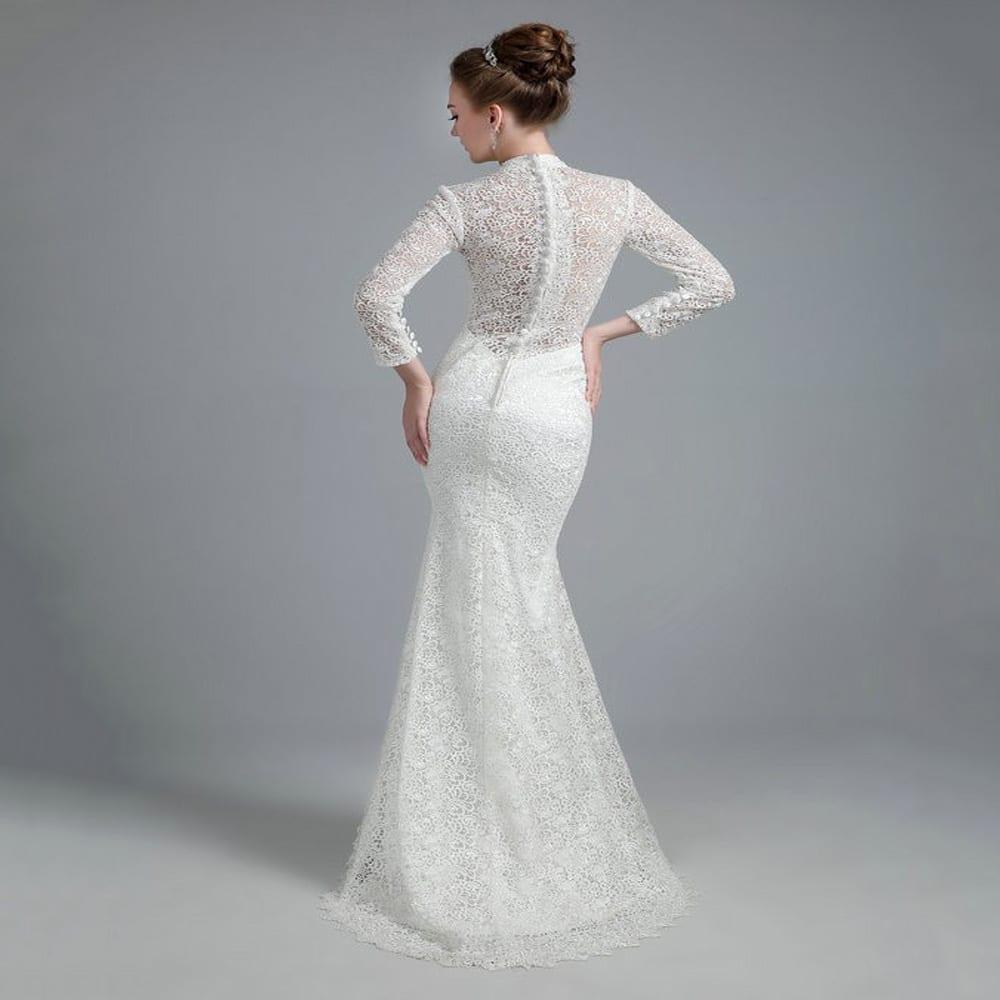 White Vintage Lace High Neck Long Sleeves Mermaid Wedding Dress