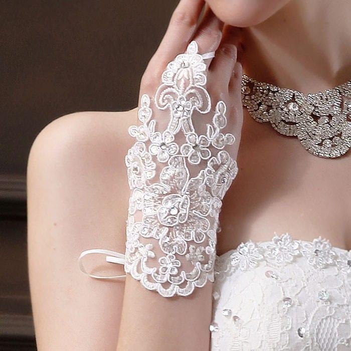 White Fingerless Elegant Rhinestone Bridal Wedding Gloves