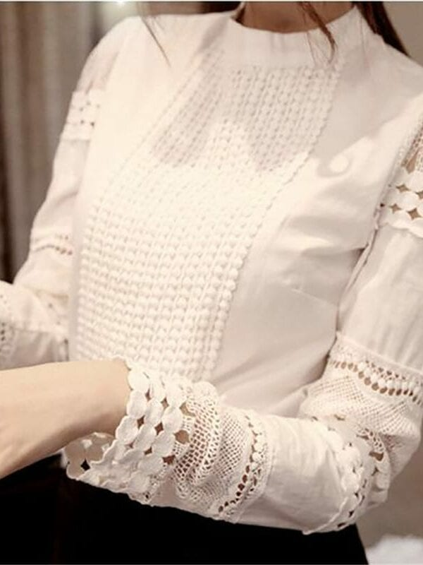 Long Sleeve Lace White Blouse Shirt