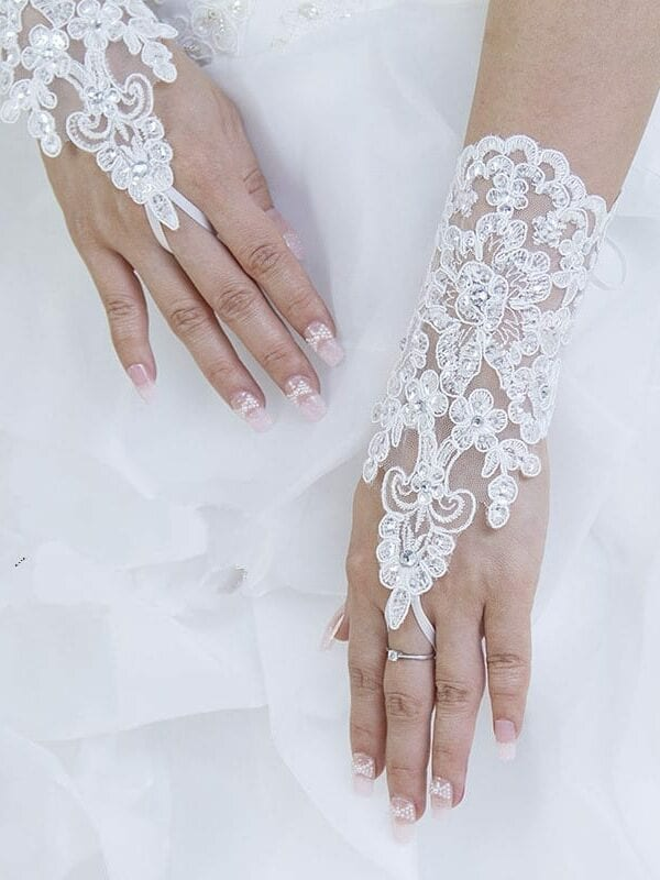 White Fingerless Elegant Rhinestone Bridal Wedding Gloves