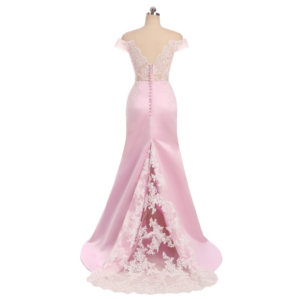 Pink V-neck Cap Sleeves Satin Lace Backless Elegant Long Bridesmaid Dress