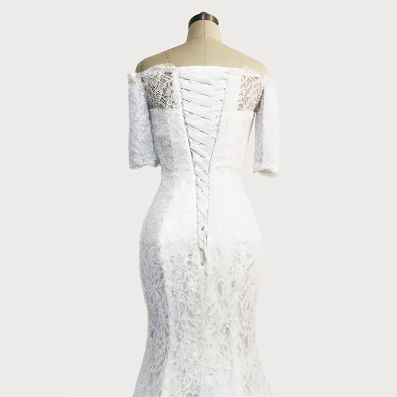Off The Shoulder Half Sleeves White Lace Mermaid Wedding Dress
