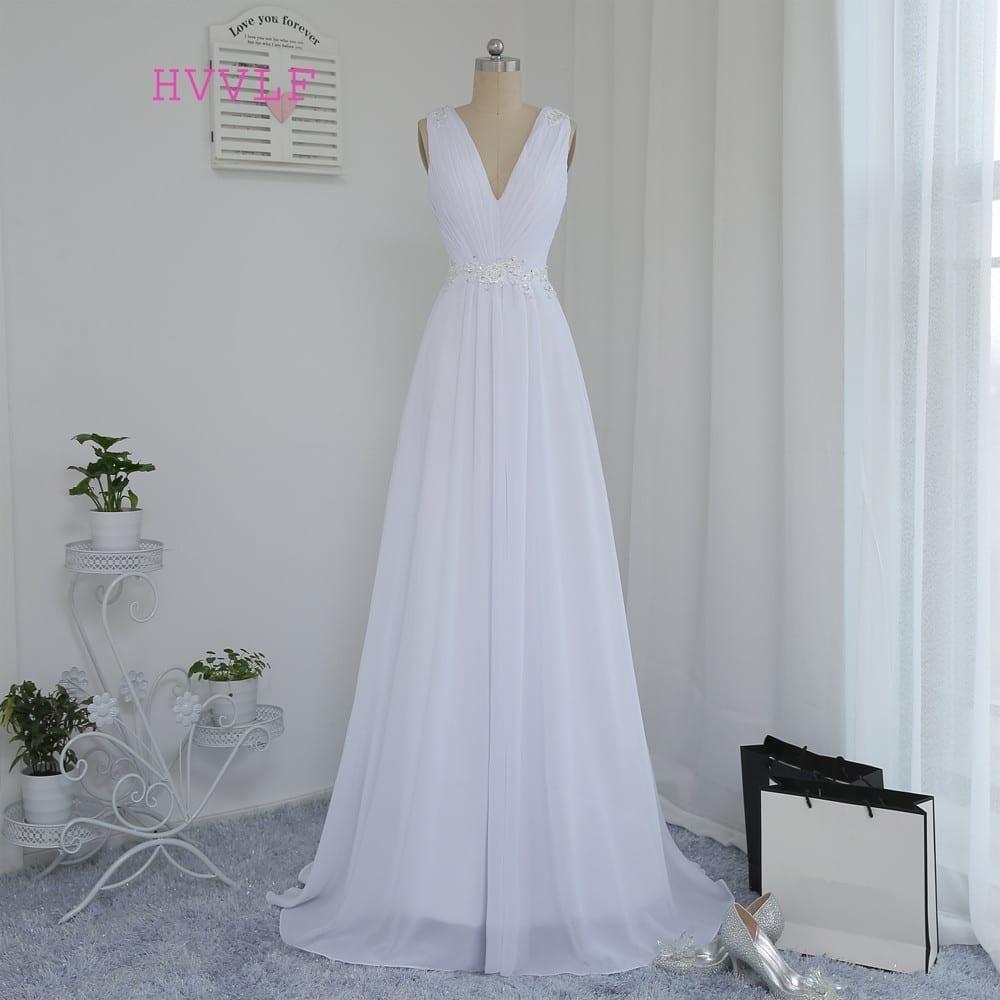 A-line Deep V-neck Appliques Lace Vintage Beach Wedding Dress