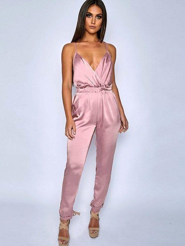 Pink Red Black Open Back Elegant Jumpsuit