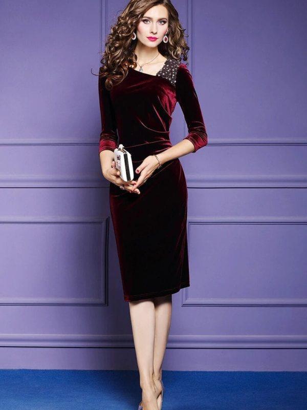 Elegant Wine Beading Velvet Dress