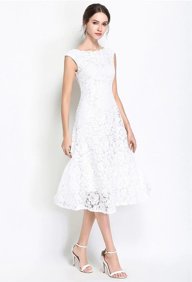 Elegant White Black Sleeveless A-line Knee Length Dress