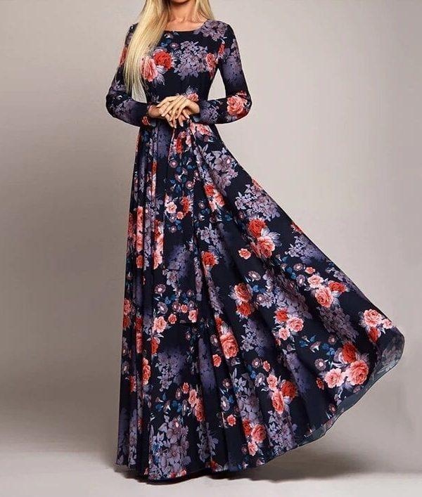 Vintage Boho Flowers Printed Long Dress