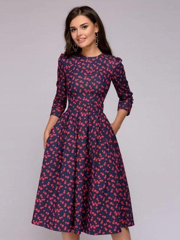 Vintage Three Quarter Sleeve A-line Print Floral Dress