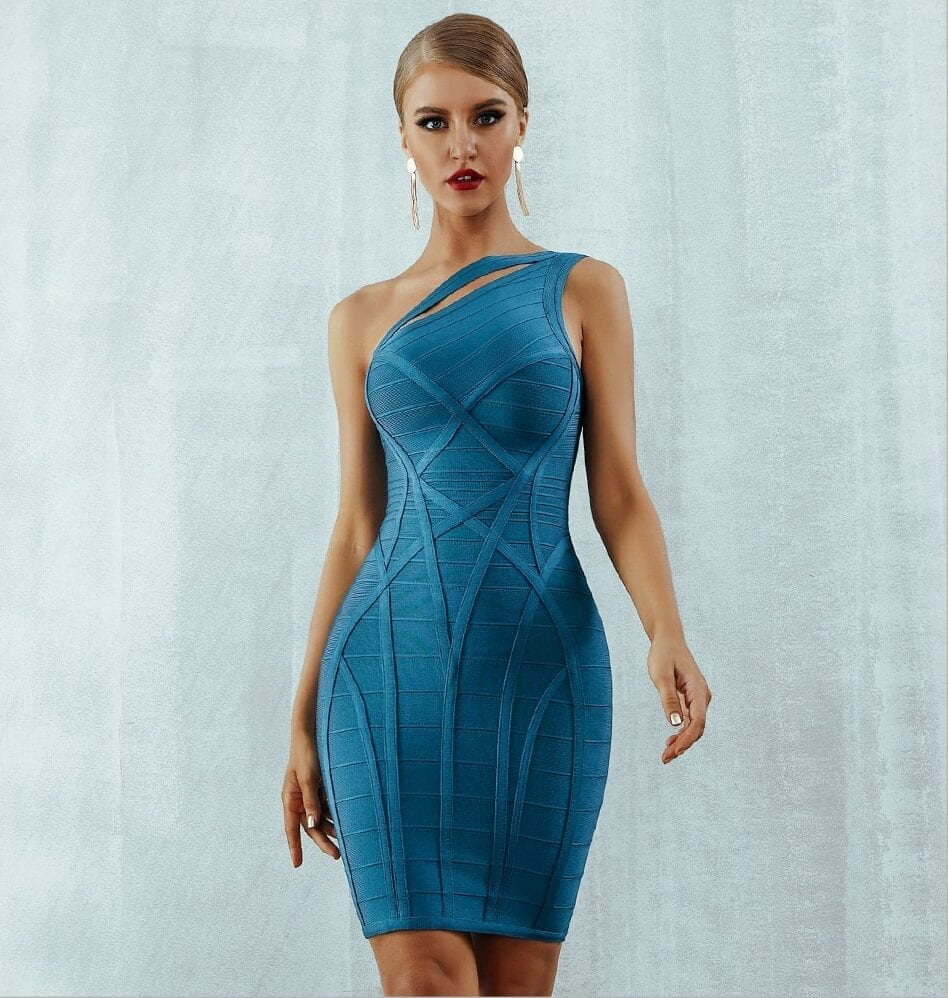 One Shoulder Hollow Out Bandage Dress
