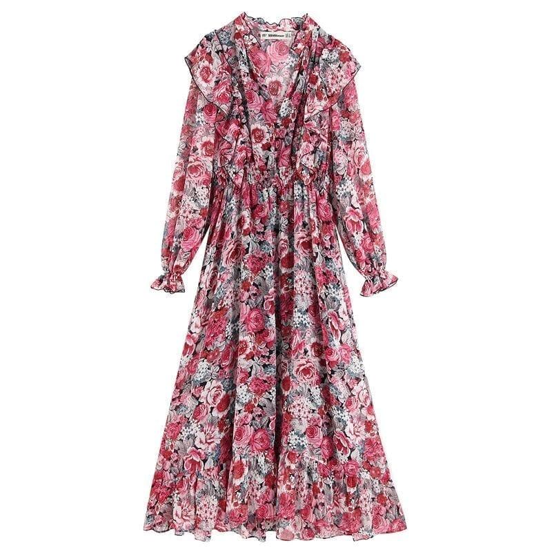 V Neck Ruffle Floral Print Dress