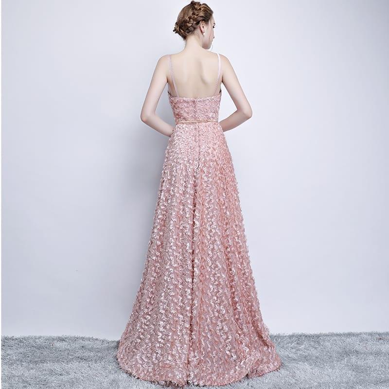 Pink Lace Sleeveless Spaghetti Straps Long Bridesmaid Dress