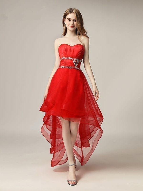 Asymmetrical Sweetheart Little Ruffles Prom Dress
