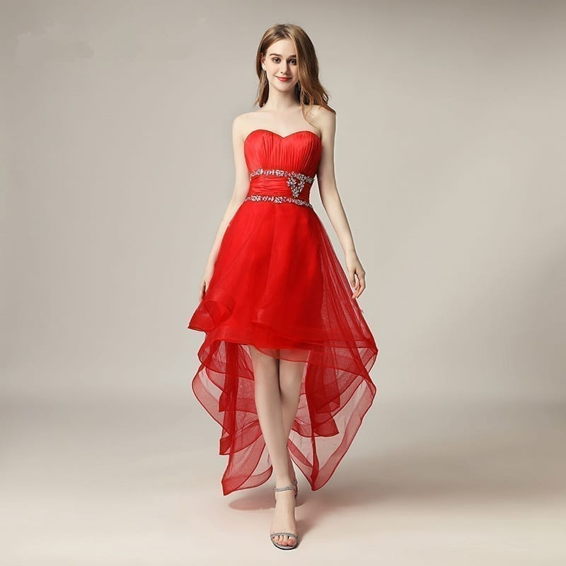 Asymmetrical Sweetheart Little Ruffles Prom Dress