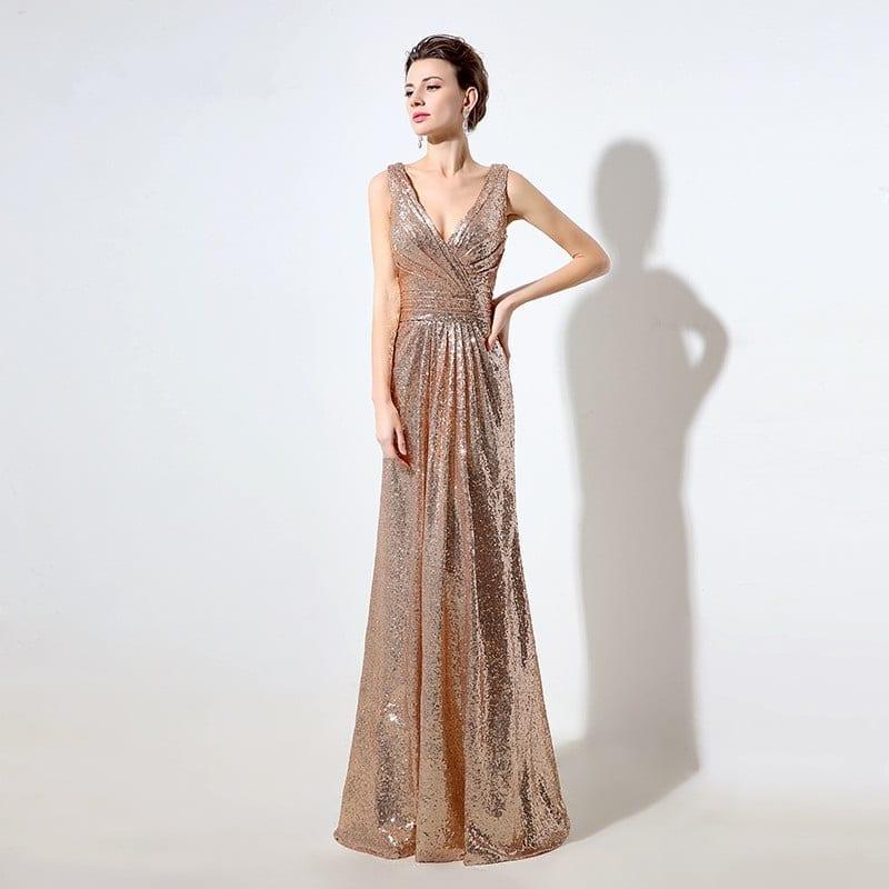 Gold Sequin Deep V-neck Sparkly V Back Long Bridesmaid Dress