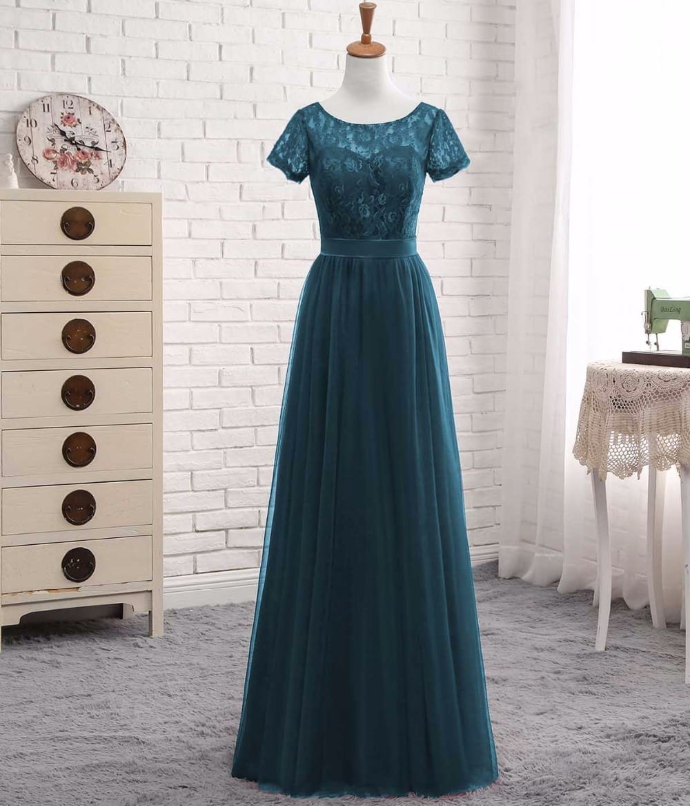 Elegant Short Sleeves A Line Teal Tulle Lace With Sash Bridesmaid Dress