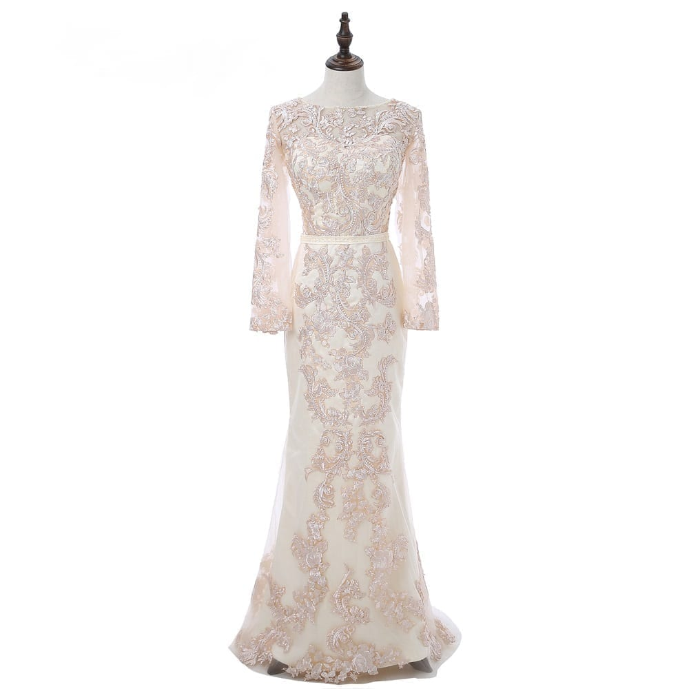 Champagne Sleeves Appliques Lace Long Mermaid Evening Dress