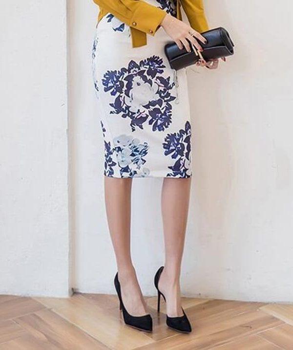 Vintage Office Flowers Print High Waist Pencil Midi Skirt