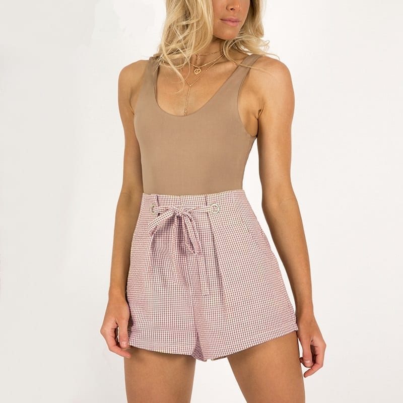 White Tie Up Plaid Zipper High Waist Shorts