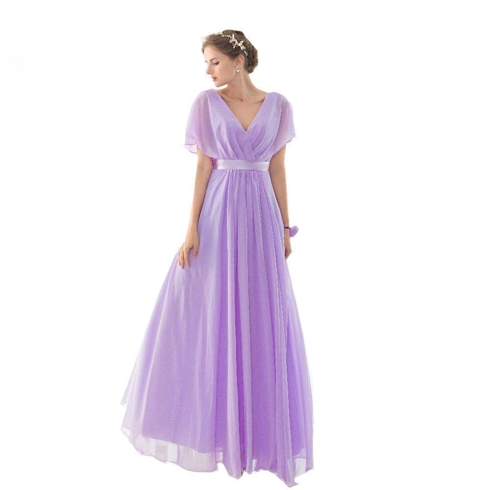 Lilac Short Sleeves V Neck Floor Length Chiffon Bridesmaid ...