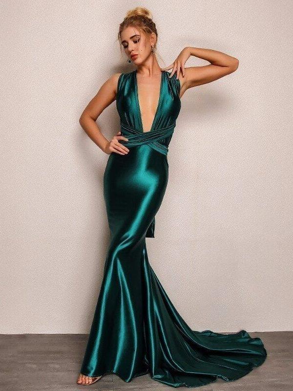 Elegant Backless Satin Green Bandage Maxi Dress
