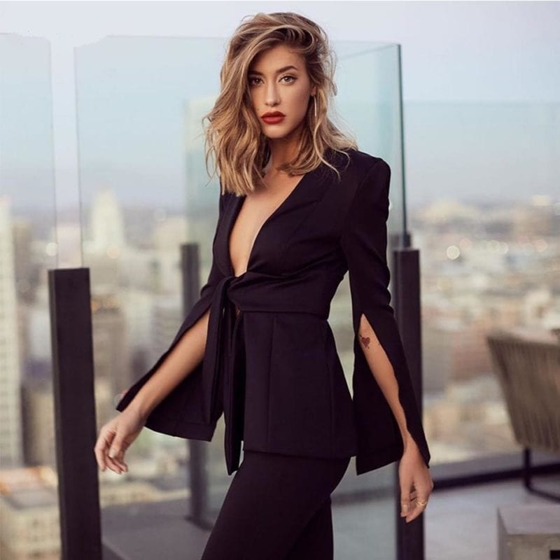 Black Deep V Neck Hollow Out Long Jumpsuit