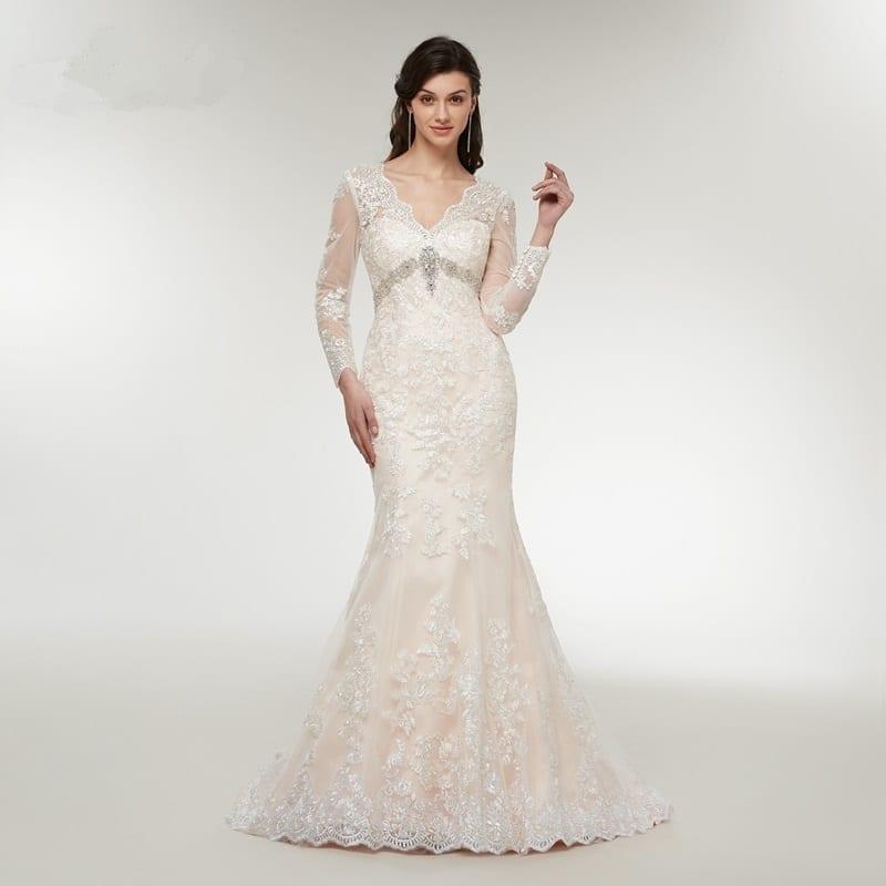 Long Sleeve Lace Appliques Mermaid Wedding Dress
