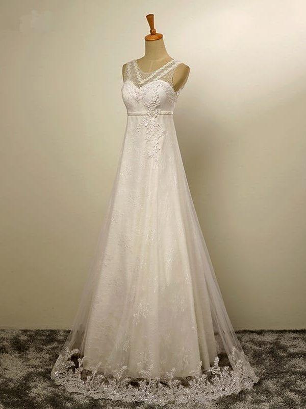 A-line Tulle Lace Pearls Boho Beach Wedding Dress