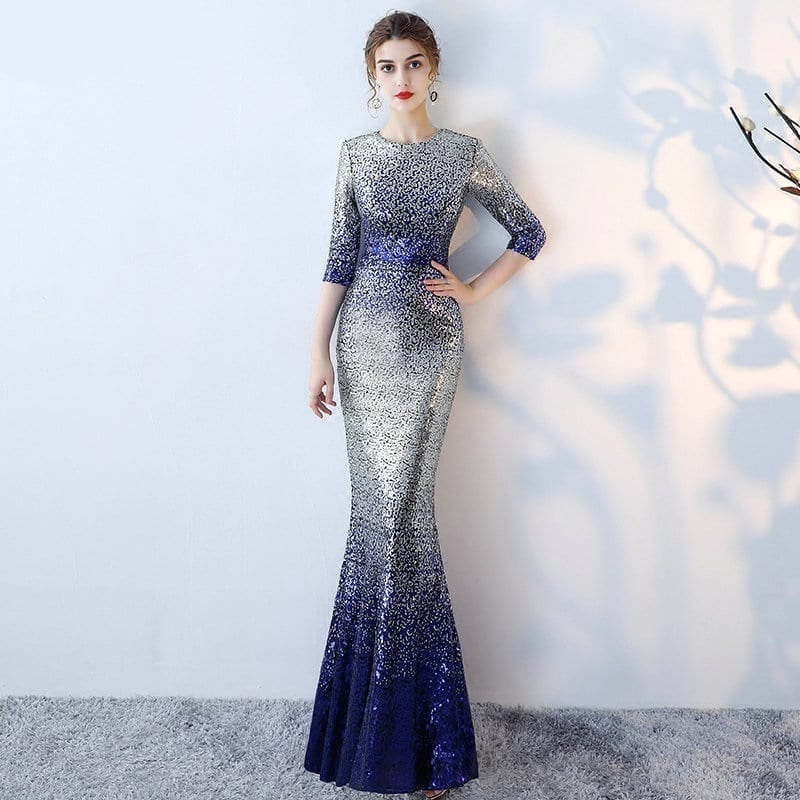 Unique O-neck Sequin Sashes Long Mermaid Evening Dress