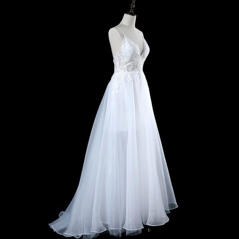 White Ivory Speghetti Straps Appliques Backless Wedding Dress