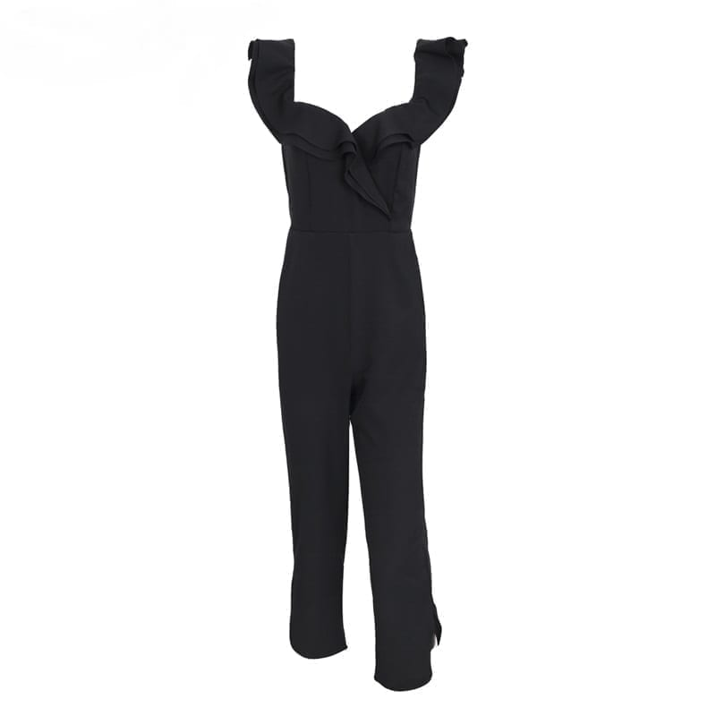Tiered Ruffle High Waist Backless Off Shoulder Black Jumpsuit