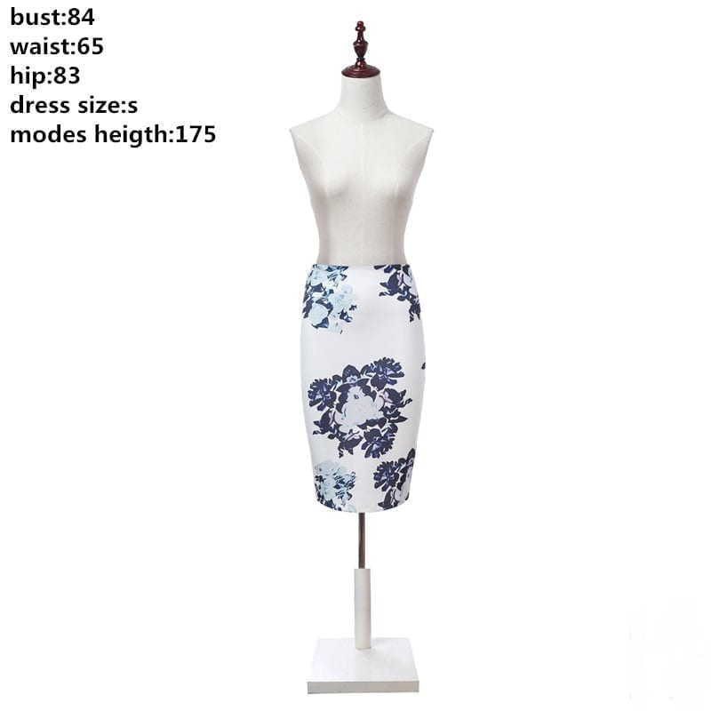 Vintage Office Flowers Print High Waist Pencil Midi Skirt