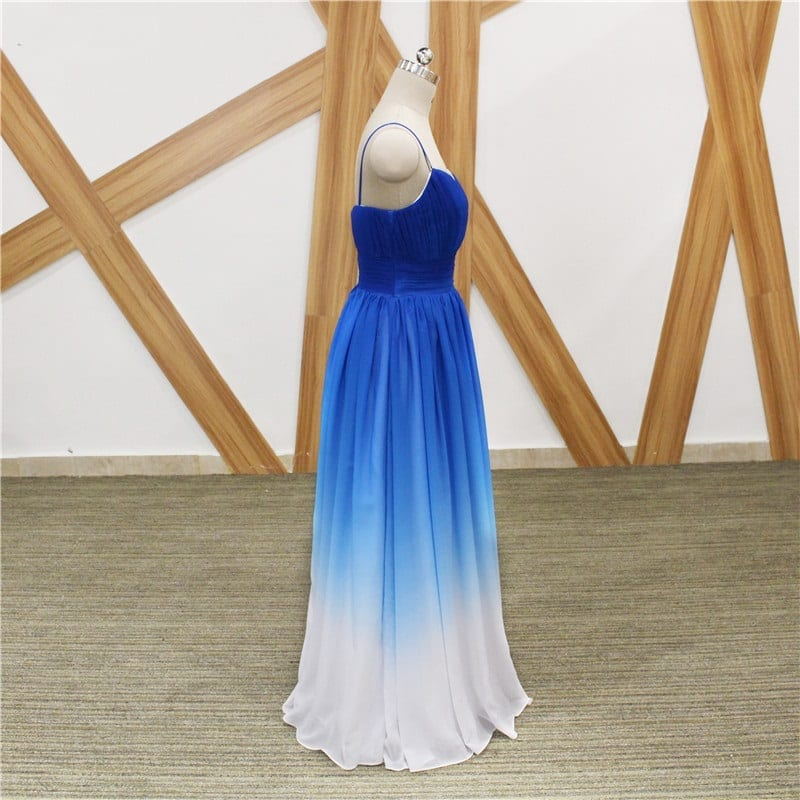 Elegant Blue White Gradient Color Chiffon A Line Spaghetti Strap Long Bridesmaid Dress