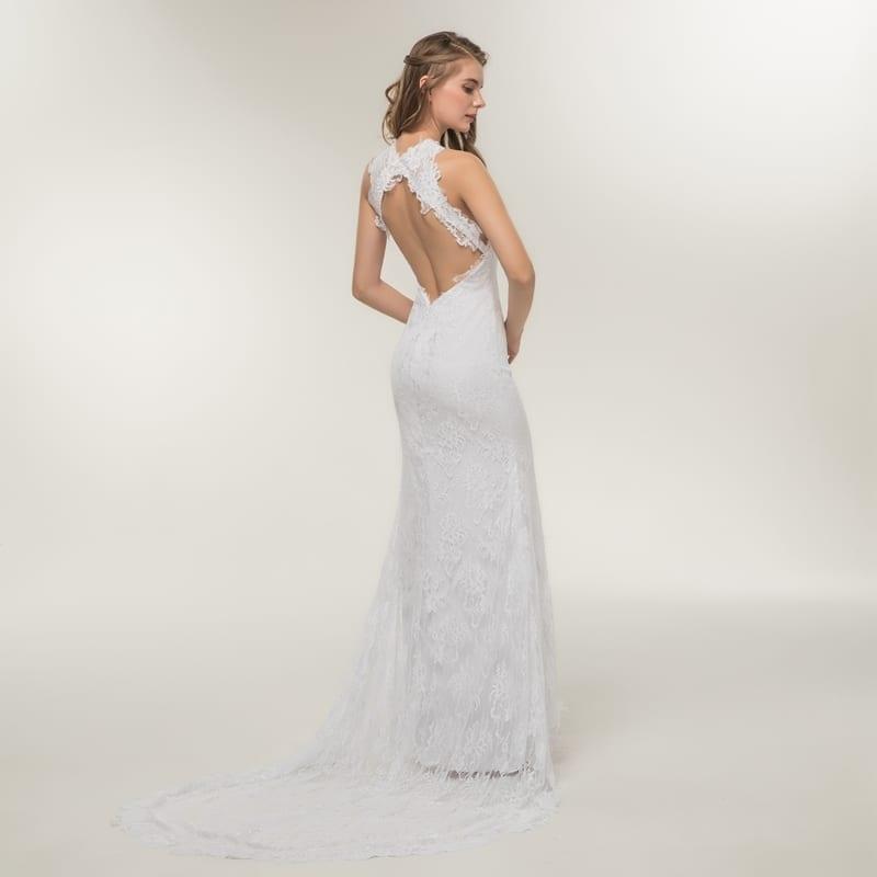 Beautiful Appliques Lace Backless Princess Beach Mermaid Wedding Dress