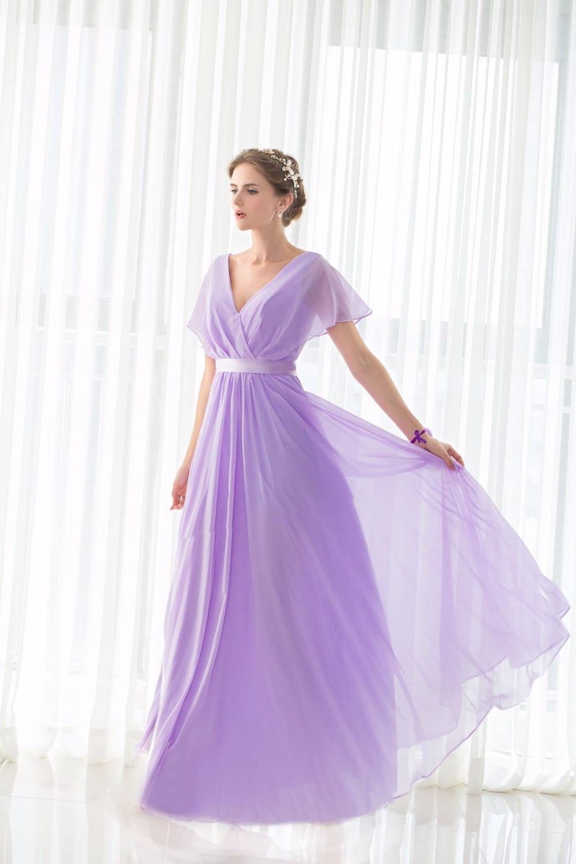 Lilac Short Sleeves V Neck Floor Length Chiffon Bridesmaid Dress