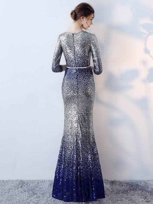 Unique O-neck Sequin Sashes Long Mermaid Evening Dress