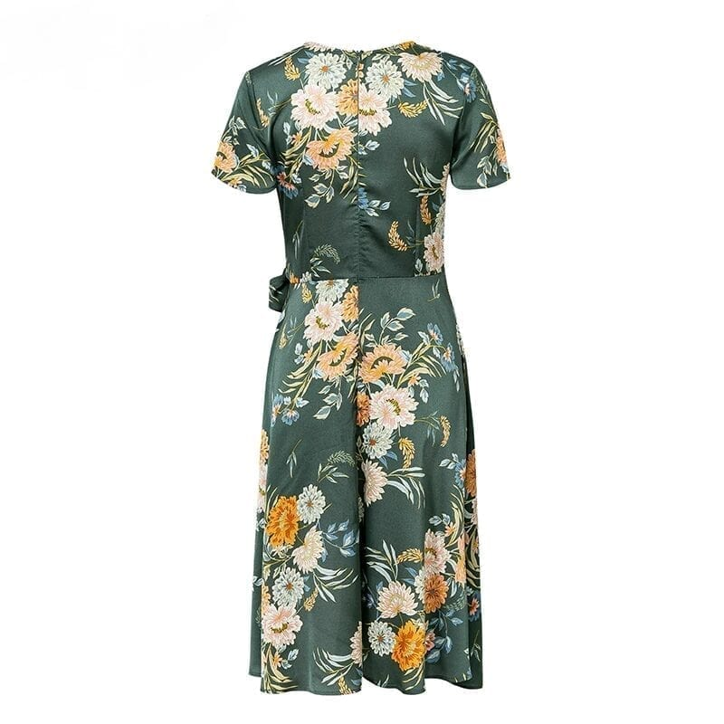 Elegant Floral Print V Neck Wrap Satin Dress