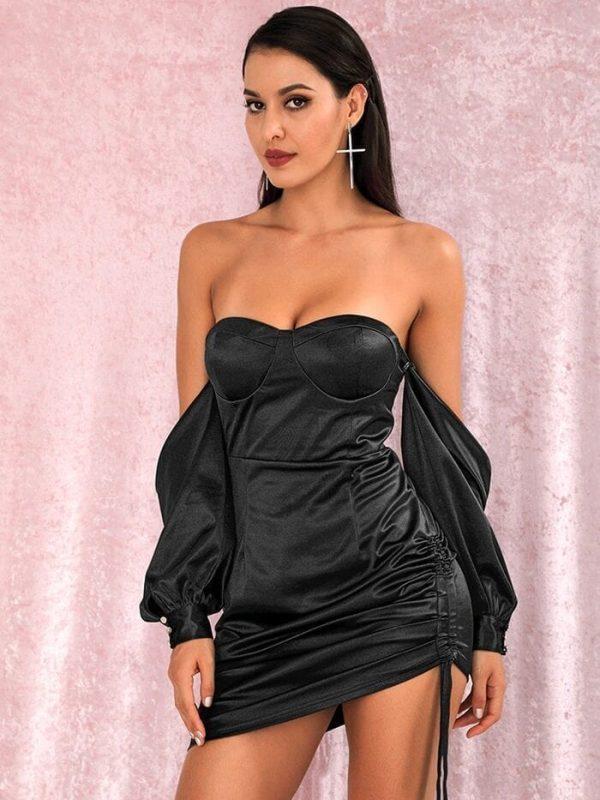 Black Off Shoulder Ruffle Lace Hollow Out Mini Dress