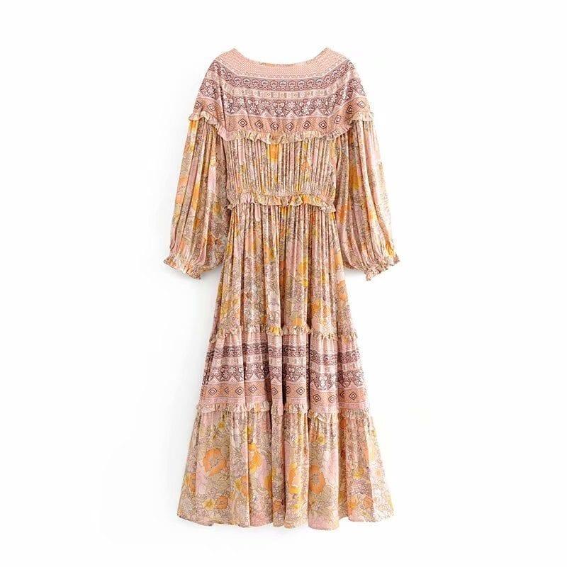 V-neck Sasches Ruffles Floral Print Boho Dress