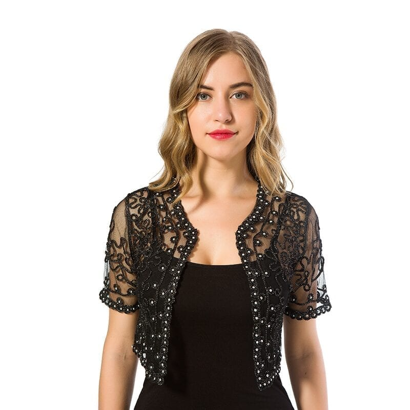 Black Khaki Short Sleeve Lace Hollow Out Jacket