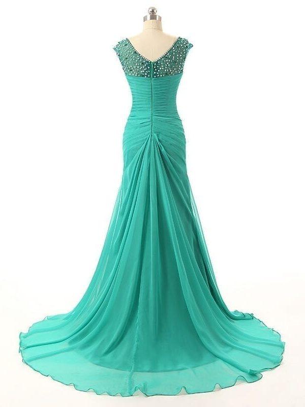 Elegant Green Long Mother Of The Bride Dress