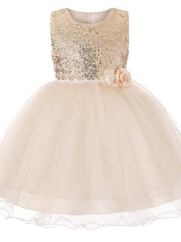 Luxury Sequined Princess Flower Girl Dress