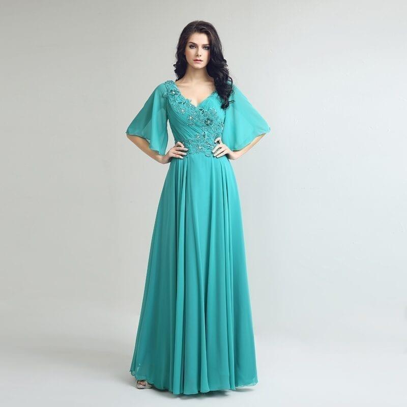 Elegant Chiffon V Neck Floor Length Beading Mother Of The Bride Dress