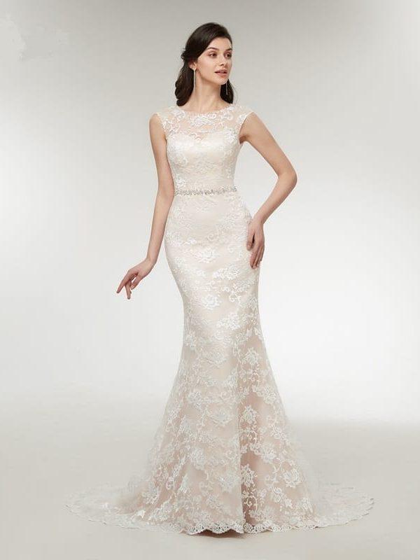 Sleeveless Court Train Lace Mermaid Appliques Wedding Dress