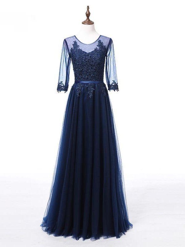 Elegant Appliques Lace Half Sleeves See Through Long Bridesmaid Dress