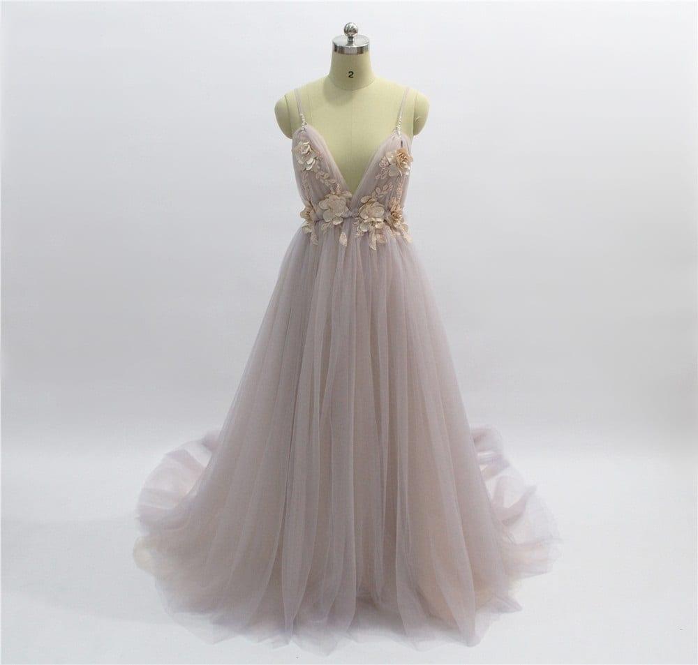 Elegant Backless Court Train Flowers Blush A Line Tulle Long Evening Dress