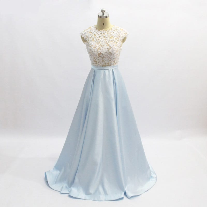 Baby Blue A Line Floor Length Satin Lace Long Evening Dress