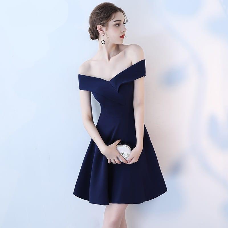 Navy Blue Off Shoulder Boat Neck Elegant Prom Dress