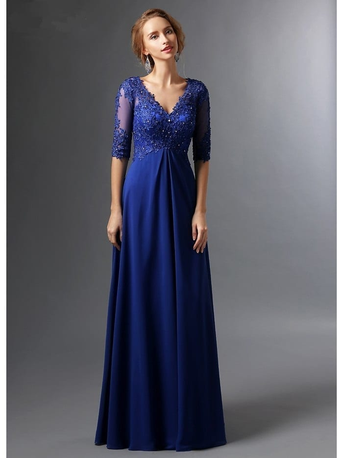 406188961f Elegant Royal Blue A-Line V-Neck Half Sleeves Chiffon Lace Long ...