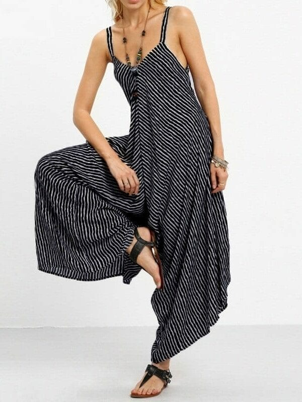 Strapless Loose Striped Backless Jumpsuit