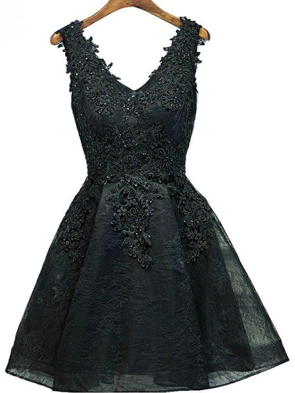 Black Burgundy V Neck Appliques Beading Lace Up Prom Dress